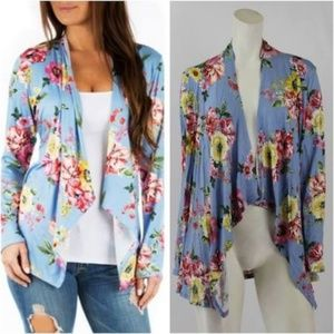 Other - Floral Cardigan Size XL Blue Draped